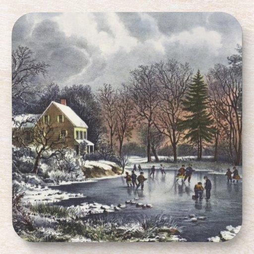 Vintage Christmas, Early Winter, Skaters on Pond Beverage Coaster