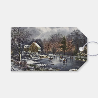 Vintage Christmas, Early Winter Skaters on Pond Gift Tags