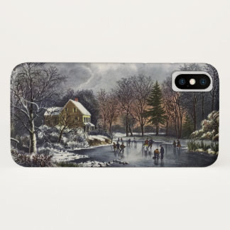 Vintage Christmas, Early Winter Skaters on Pond iPhone X Case