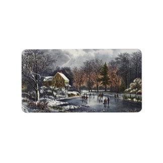 Vintage Christmas, Early Winter, Skaters on Pond Address Label