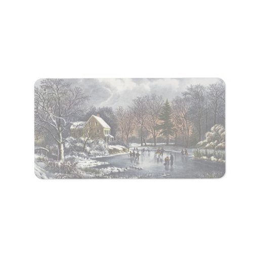 Vintage Christmas, Early Winter, Skaters on Pond Personalized Address Labels