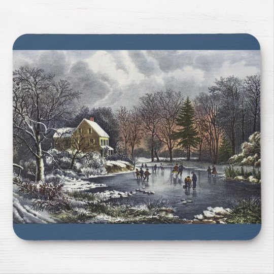 Vintage Christmas, Early Winter Skaters on Pond Mouse Pad