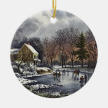 Vintage Christmas, Early Winter, Skaters on Pond Double-Sided Ceramic Round Christmas Ornament