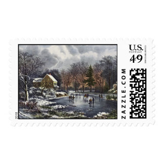 Vintage Christmas, Early Winter Skaters on Pond Postage