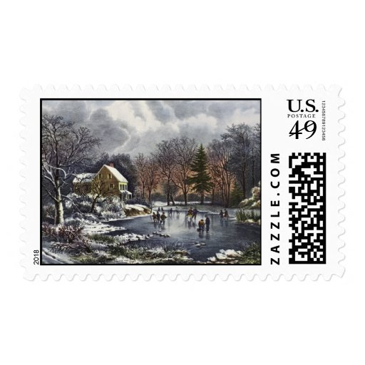 Vintage Christmas, Early Winter, Skaters on Pond Postage