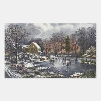 Vintage Christmas, Early Winter Skaters on Pond Rectangular Sticker