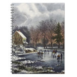Vintage Christmas, Early Winter Skaters on Pond Spiral Notebook