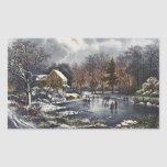 Vintage Christmas, Early Winter, Skaters on Pond Rectangle Sticker