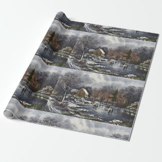 Vintage Christmas, Early Winter Skaters on Pond Wrapping Paper