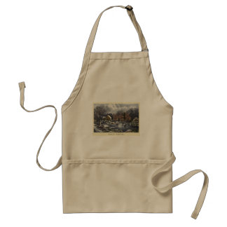 Vintage Christmas, Early Winter with Ice Skaters Adult Apron