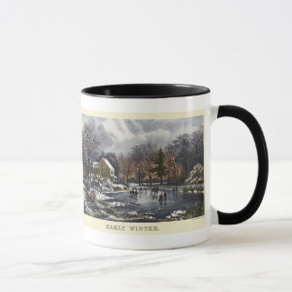 Vintage Christmas, Early Winter with Ice Skaters Mug