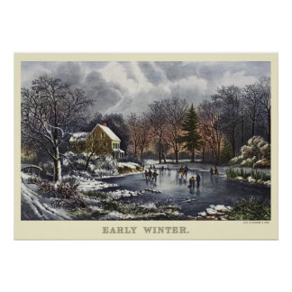 Vintage Christmas, Early Winter with Ice Skaters Poster