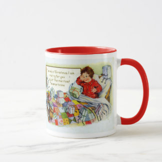 Vintage Christmas, Edwardian child opening gifts Mug