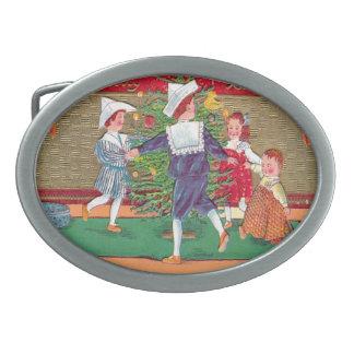 Vintage Christmas Edwardian children dancing Oval Belt Buckles
