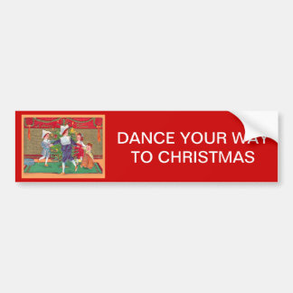 Vintage Christmas, Edwardian children dancing Bumper Sticker