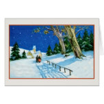 Vintage Christmas elderly couple snow church Greeting Card