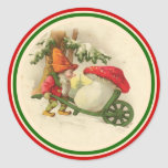 Vintage Christmas Elf 1910 Round Stickers