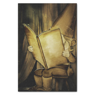 "Vintage Christmas Elf Reading 10"" X 15"" Tissue Paper"
