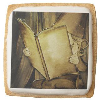 Vintage Christmas Elf Reading Square Premium Shortbread Cookie