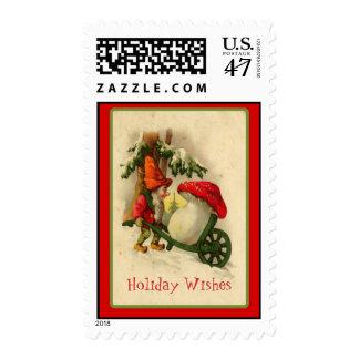 Vintage Christmas Elf Red Capped Mushroon Postage
