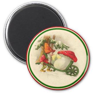 Vintage Christmas Elf with Mushroom Magnet