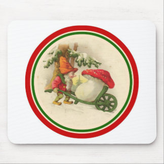 Vintage Christmas Elf with Mushroom Mouse Pad