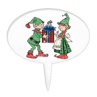 Vintage Christmas Elves Gift Giving Cake Pick