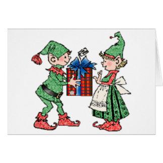 Vintage Christmas Elves Gift Giving Card