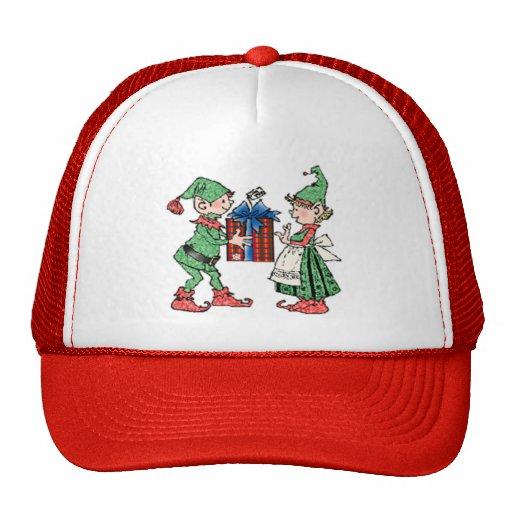 Vintage Christmas Elves Gift Giving Mesh Hats