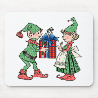 Vintage Christmas Elves Gift Giving Mouse Pad