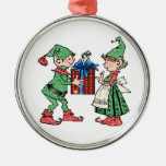 Vintage Christmas Elves Gift Giving Christmas Ornaments