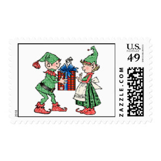 Vintage Christmas Elves Gift Giving Postage