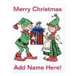 Vintage Christmas Elves Gift Giving Postcards