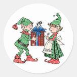Vintage Christmas Elves Gift Giving Sticker