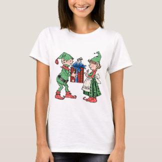 Vintage Christmas Elves Gift Giving T-Shirt