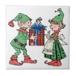 Vintage Christmas Elves Gift Giving Tile