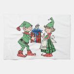 Vintage Christmas Elves Gift Giving Towels