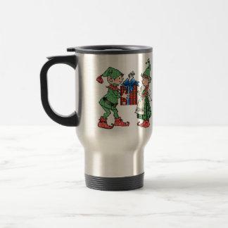 Vintage Christmas Elves Gift Giving Travel Mug