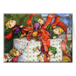 Vintage Christmas Elves Gift Wrapping Greeting Cards