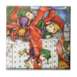 Vintage Christmas Elves Gift Wrapping Ceramic Tile