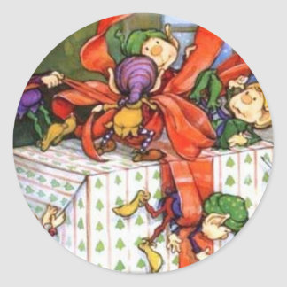 Vintage Christmas Elves Gift Wrapping Classic Round Sticker