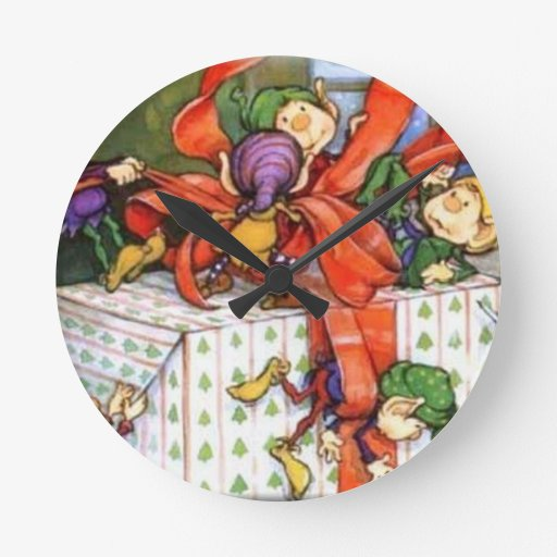 Vintage Christmas Elves Gift Wrapping Round Wall Clocks