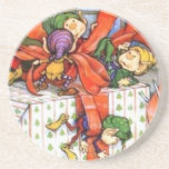 Vintage Christmas Elves Gift Wrapping Coasters