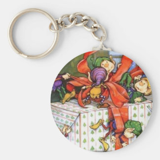 Vintage Christmas Elves Gift Wrapping Keychain