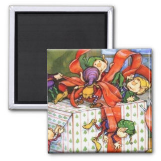 Vintage Christmas Elves Gift Wrapping Magnet