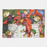 Vintage Christmas Elves Gift Wrapping Towels