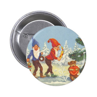 Vintage Christmas, Elves in the Snow Forest Winter 2 Inch Round Button