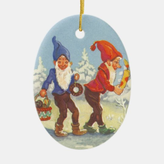 Vintage Christmas, Elves in the Snow Forest Winter Ceramic Ornament