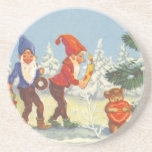 Vintage Christmas, Elves in the Snow Forest Winter Coasters