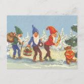 Happy New Year Gelukkig nieuwjaar winter holidays,Dutch postcard 1920s postcard Antique Christmas elf gnome postcard